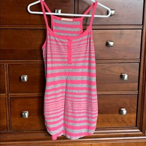Pink and gray fitted tank top - size Medium.